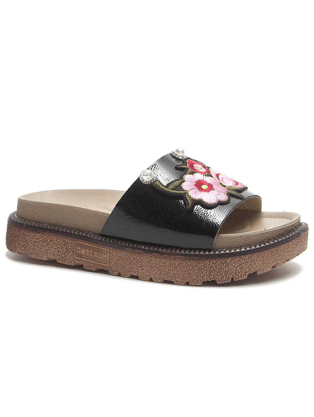 Outfit Outdoor Casual Floral Decorated Platform Slides
