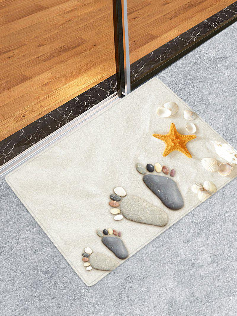 Fashion Beach Stone Footprint Pattern Water Absorption Area Rug