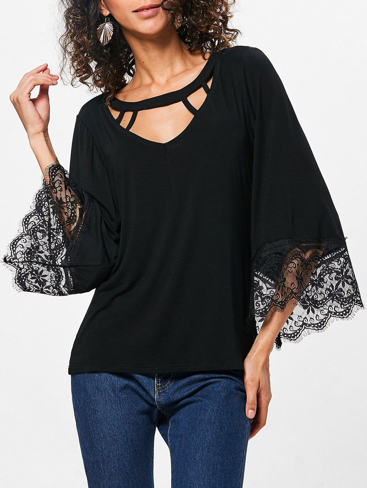 Store Lace Trim Flare Sleeve T-shirt