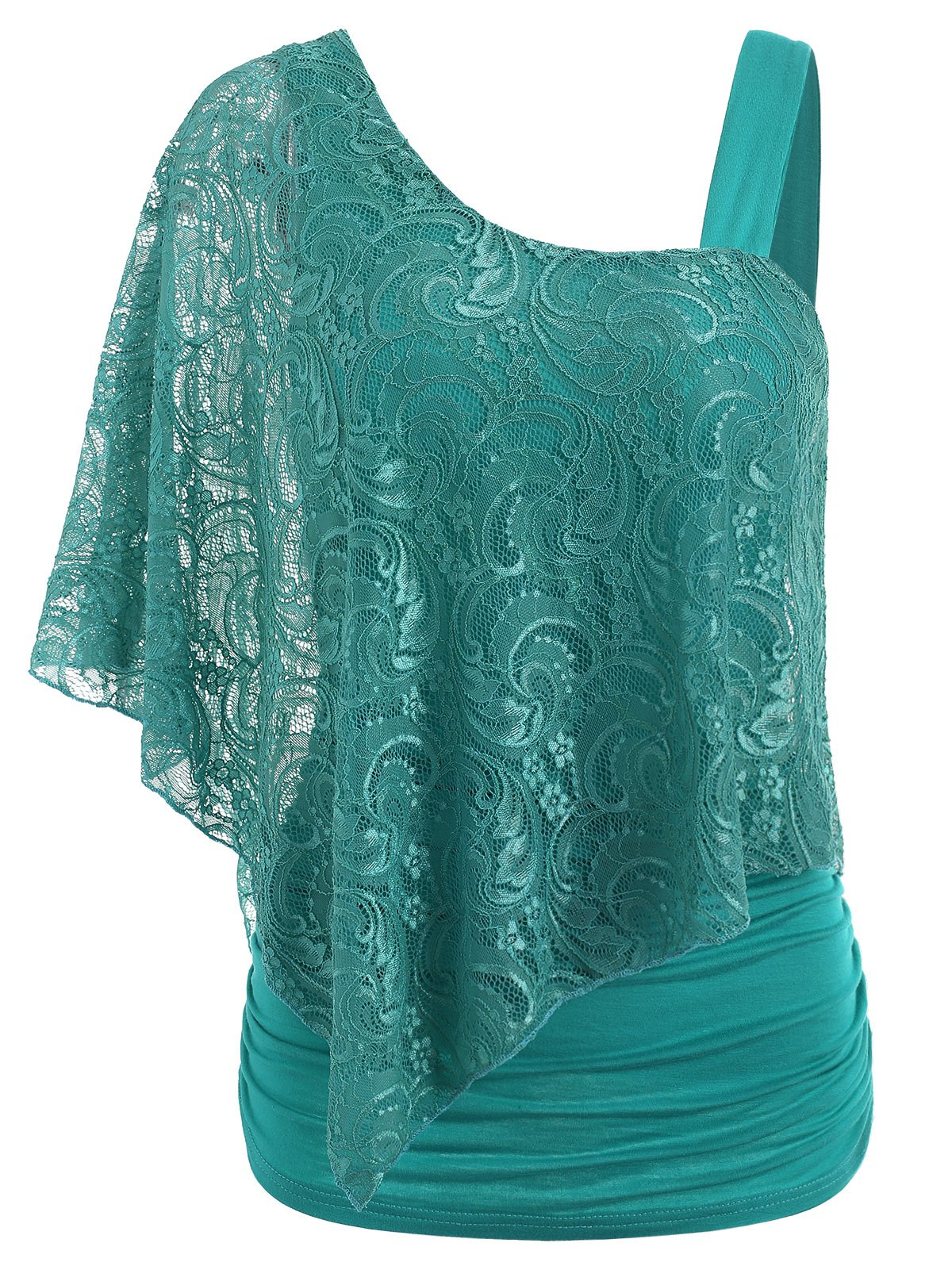 Store One Shoulder Lace Overlay T-shirt