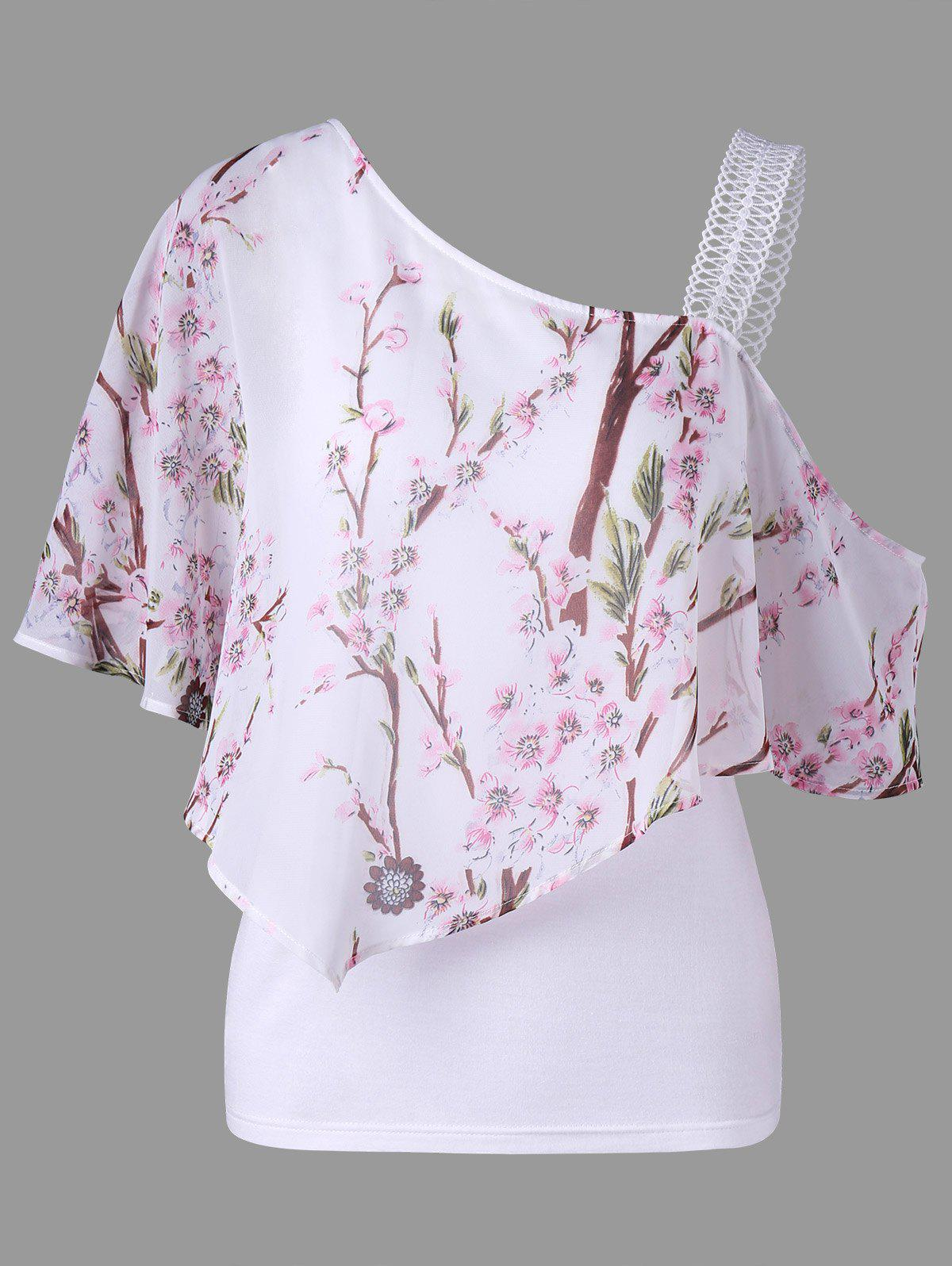 Sale Skew Neck Floral Ruffled Blouse