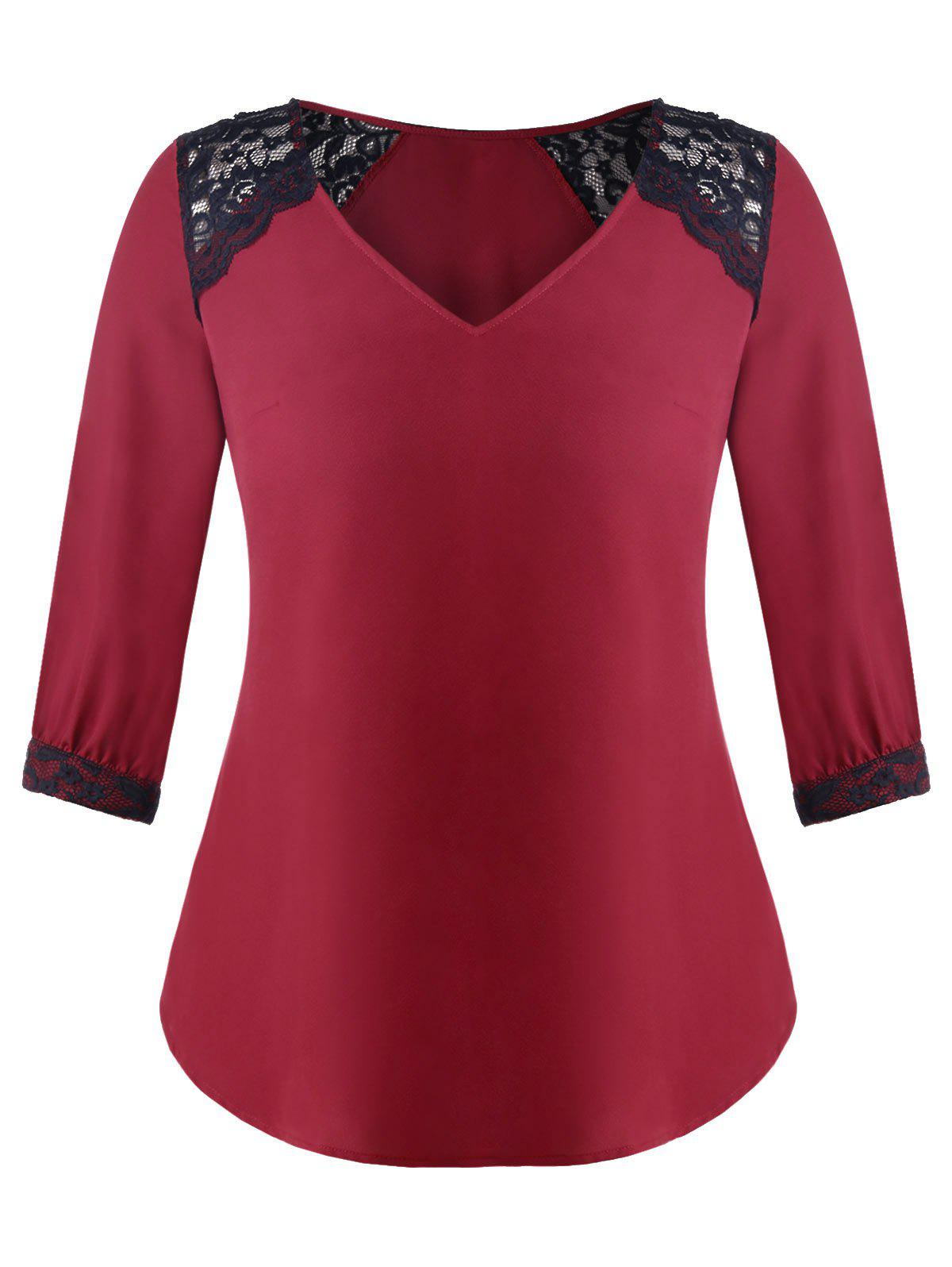 Sale Plus Size Lace Insert V Neck Blouse