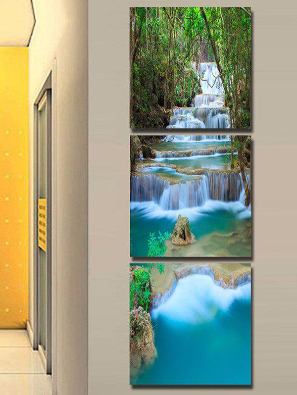 Hot Forest Cascade Falls Printed Wall Art Split Canvas Paintings