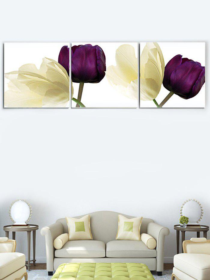 Affordable Flowers Printed Wall Decor Split Canvas Paintings
