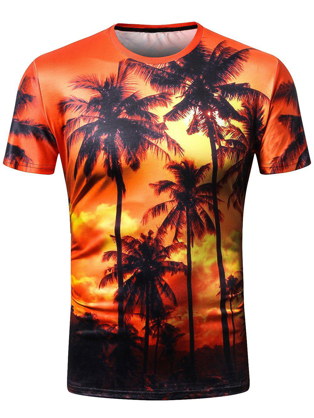 Unique 3D Coconut Tree Print Hawaii Short Sleeve T-shirt