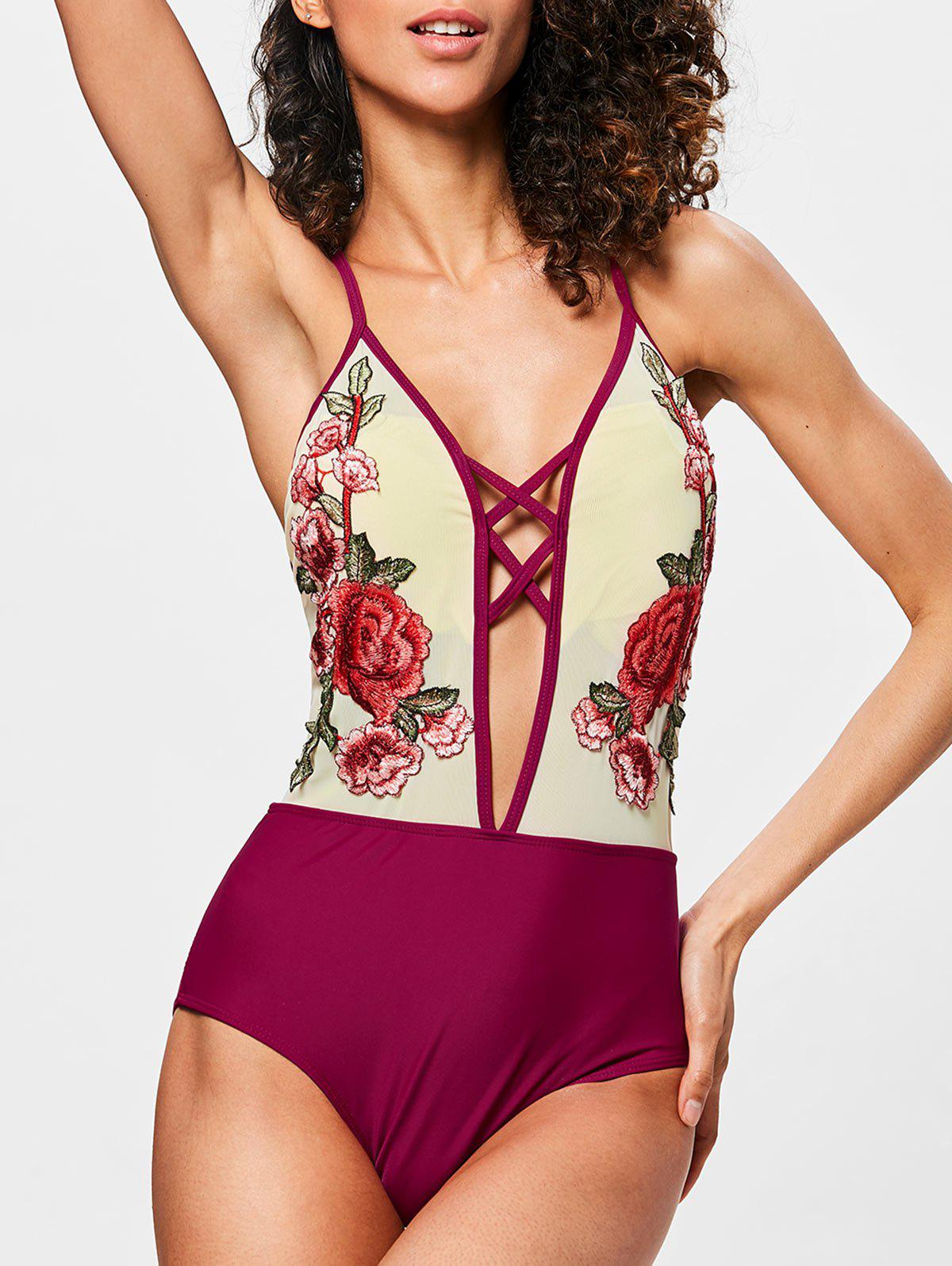Online Cross Back Mesh Embroidery Swimwear