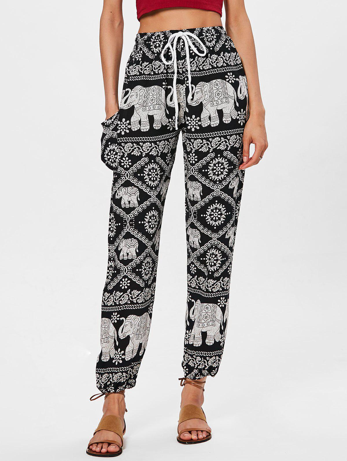 fd17db9003 50% OFF] High Rise Ethnic Print Beach Pants | Rosegal