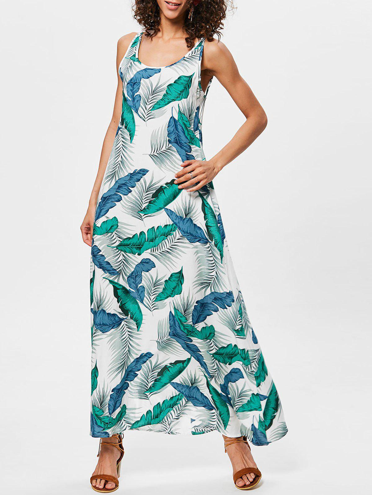 Shops Leaves Print Backless Long Trapeze Dress