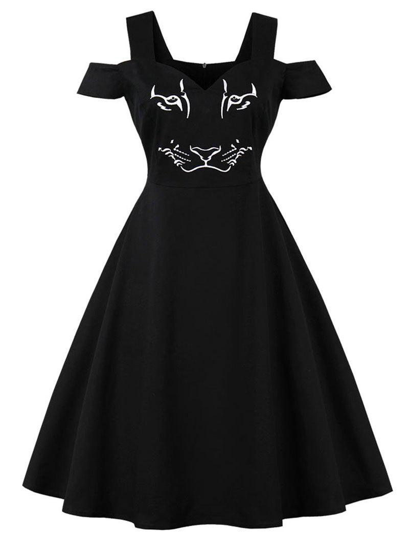 Fashion Cold Shoulder Tiger Embroidered Pin Up Dress