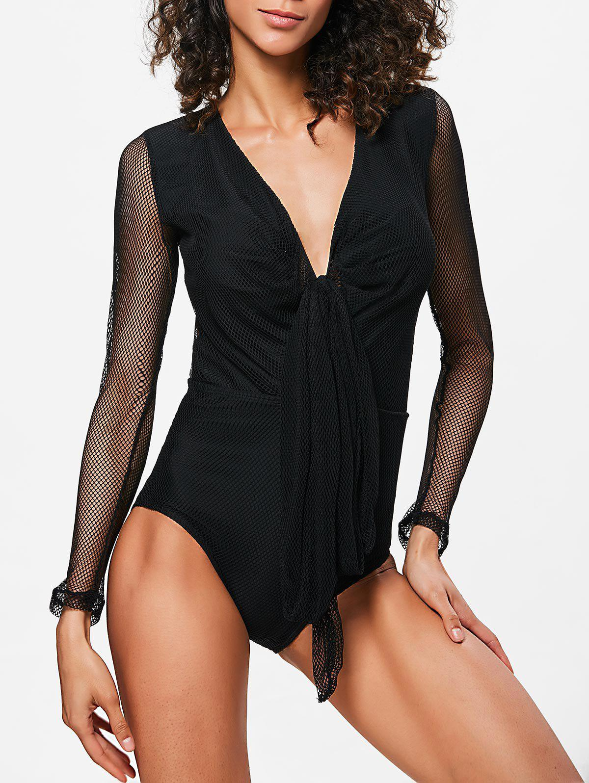 Shop Fishnet Long Sleeves Plunge Swimsuit