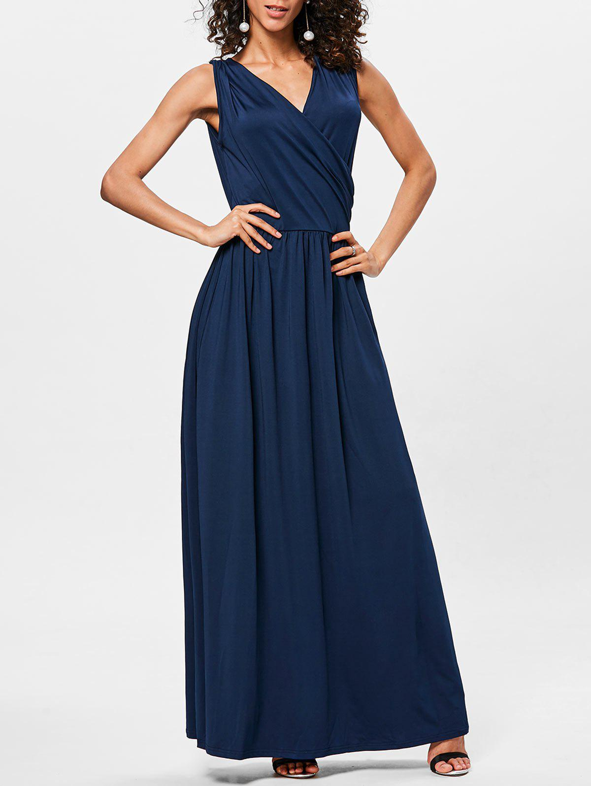Unique Surplice Neck Pleated Maxi Dress