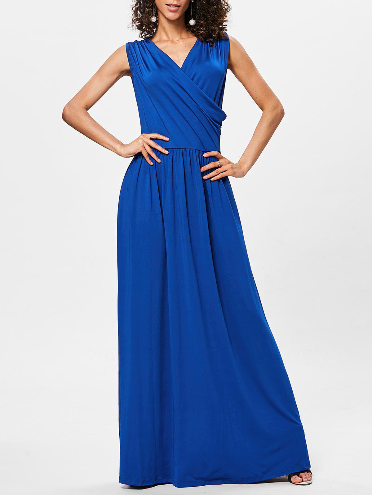 Outfits Surplice Neck Pleated Maxi Dress