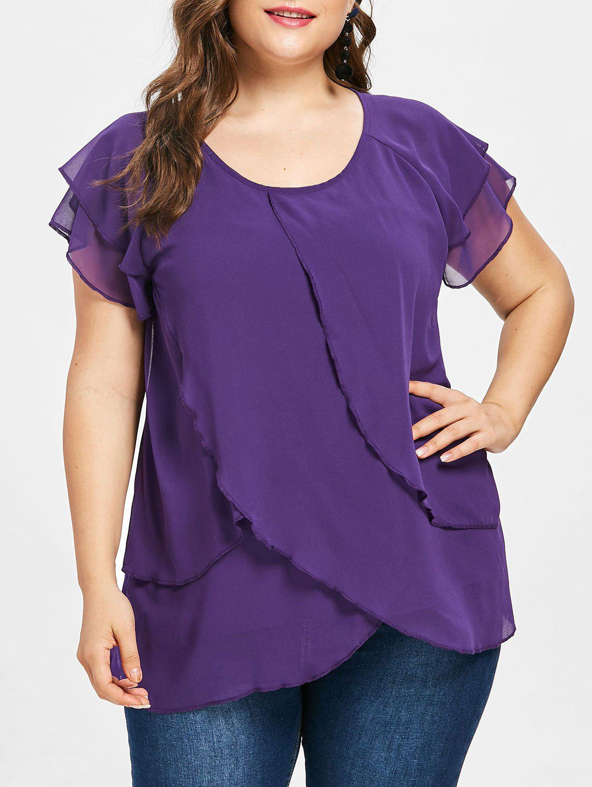 Trendy Plus Size Tulip Overlay Blouse