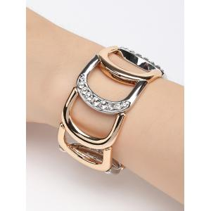 Faux Diamond Hollow Out Inlaid Chunky Bracelet -