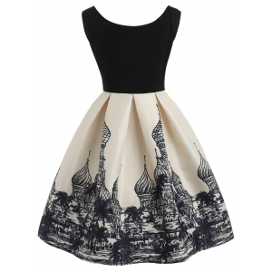 Russian Architecture Print Sleeveless Vintage Dress -