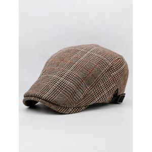 Plaid Flat Cabbie Cap -