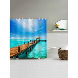 Seaside Wooden Bridge Print Bath Shower Curtain -