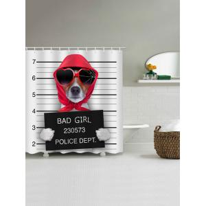 Mugshot of Wanted Dog Holding a Banner Print Shower Curtain -
