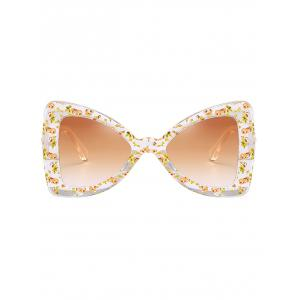 Anti UV Faux Pearl Decorated Butterfly Sunglasses -