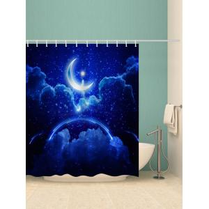 Bath Decor Moon Starry Night Sky Printed Shower Curtain -