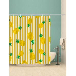 Stripes Pineapples Printed Shower Curtain Bath Decor -