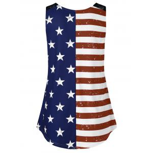 Lace Panel American Flag Trapeze Tank Top -