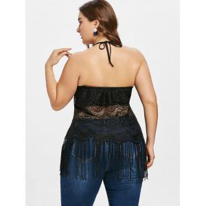 Plus Size Fringed Lace Tank Top -