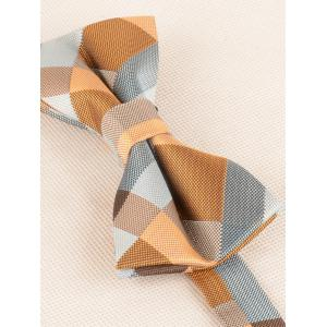 Plaid Pattern Adjustable Bow Tie and Shirt Tie -