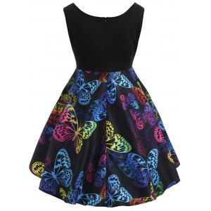 Robe Sans Manches Motif Papillons Style Vintage Grande-Taille -