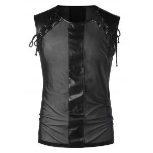 See Thru Lace Up Tank Top -
