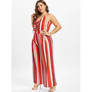 Plus Size Striped Tie Front Jumpsuit -