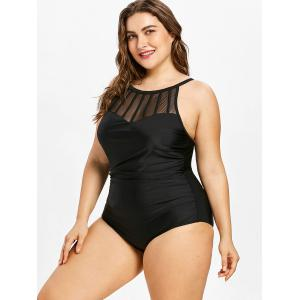 Mesh Panel Plus Size Open Back One Piece Swimsuit -