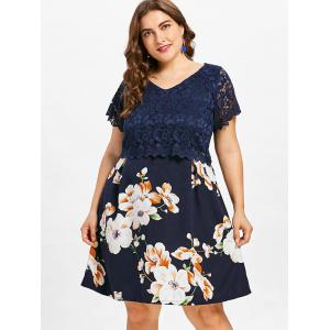 Plus Size Lace Overlay Floral Dress -