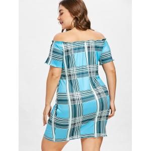 Plus Size Plaid Off Shoulder Dress -