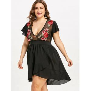 Plus Size Plunging Floral Embroidered Dress -