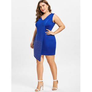 Plus Size Rhinestone Embellished Asymmetrical Overlay Dress -