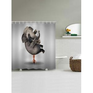 Ant Lifting Elephant Print Waterproof Bathroom Shower Curtain -