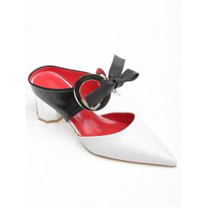 Bowknot PU Leather Mid Heel Point Toe Sandals -