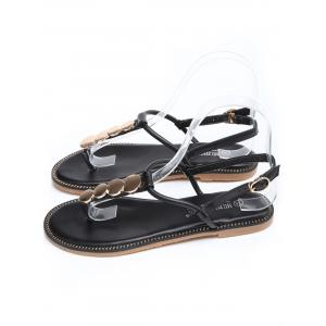 T Strap Disc Design PU Leather Sandals -