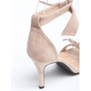Stiletto Heel Ankle Strap Suede Bow Sandals -