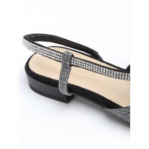 Slingback Low Heel Crystals Sandals -