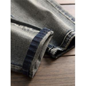Zipper Fly Destroyed Stretchy Denim Jeans -