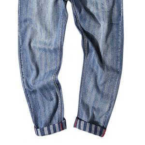 Stripe Print Fit Zipper Fly Nine Minutes of Jeans -