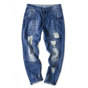Panel Bleached Broken Hole Zip Fly Jeans -
