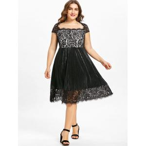 Plus Size Square Neck Lace Trim Party Dress -