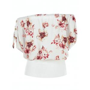 Off Shoulder Button Floral Blouson Blouse -