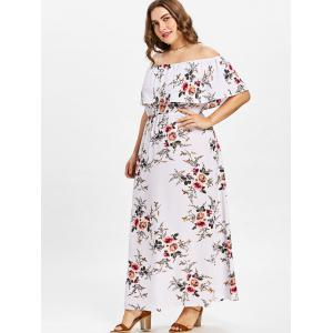 Plus Size Floral Off Shoulder Dress -