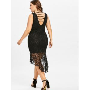 Plus Size Strappy Lace High Low Dress -