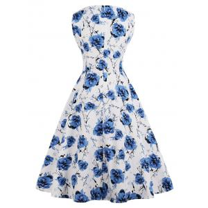 Retro Floral Print Fit and Flare Dress -