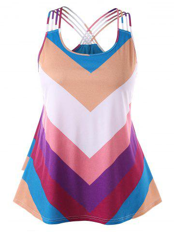 Outfit Rainbow Striped Plus Size Basket-weave Tank Top